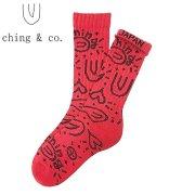 スケートボード チンアンドコー スケートソックス ching&co. ペイズリー -red- Socks スケーターソックス「レターパックライト対応」