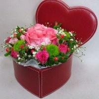 【生花】ハートボックス〜ピンクローズ〜
