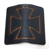 <img class='new_mark_img1' src='https://img.shop-pro.jp/img/new/icons50.gif' style='border:none;display:inline;margin:0px;padding:0px;width:auto;' />CANVAS - IRONCROSS WALLET ( BLACK & BROWN LEATHER / BROWN STITCH)