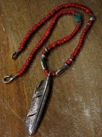 CHOOKE - Special Peace Feather & Antique White Heart Necklace ( Custom W swastica )