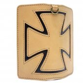 CANVAS - IRONCROSS WALLET ( NATURAL LEATHER / BLACK IRON CROSS / NATURAL STITCH)