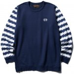 <img class='new_mark_img1' src='//img.shop-pro.jp/img/new/icons50.gif' style='border:none;display:inline;margin:0px;padding:0px;width:auto;' />CLUCT - BORDER SLEEVE CREW SWEAT (NAVY)