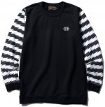 <img class='new_mark_img1' src='//img.shop-pro.jp/img/new/icons1.gif' style='border:none;display:inline;margin:0px;padding:0px;width:auto;' />CLUCT - BORDER SLEEVE CREW SWEAT (BLACK)