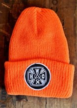 HWZN x WHEELIES x CANVAS - HWC CROSS LOGO KNIT CAP (ORANGE)