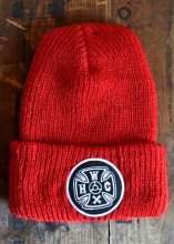 HWZN x WHEELIES x CANVAS - HWC CROSS LOGO KNIT CAP (RED)