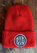 HWZN x WHEELIES x CANVAS - HWC CROSS LOGO KNIT CAP (RED)