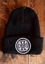 HWZN x WHEELIES x CANVAS - HWC CROSS LOGO KNIT CAP (BLACK)