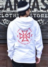 CycleZombies / サイクルゾンビーズ TRIBAL HOODED SWEATSHIRT (WHITE)