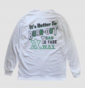 PANTYDROPPER - L/S TEE【BURN OUT】(White × Emerald Green)