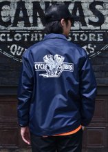 <img class='new_mark_img1' src='https://img.shop-pro.jp/img/new/icons1.gif' style='border:none;display:inline;margin:0px;padding:0px;width:auto;' />Cycle Zombies x COWDEN BIG TWIN COACHES JACKET (NAVY)
