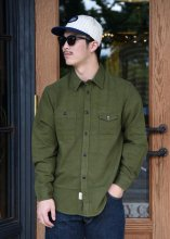 <img class='new_mark_img1' src='https://img.shop-pro.jp/img/new/icons1.gif' style='border:none;display:inline;margin:0px;padding:0px;width:auto;' />TROPHY CLOTHING - MACHINE AGE FLANNEL SHIRT (OLIVE)