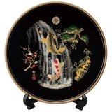 飾り盆 夫婦鯉の滝のぼり 黒塗