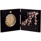 屏風時計 溜塗 滝桜