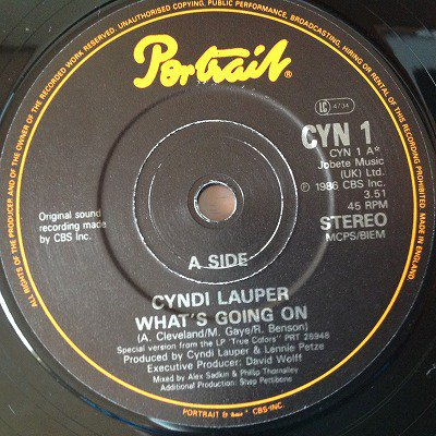Cyndi Lauper / What's Going On (7inch uk org)