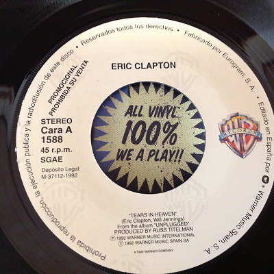 Eric clapton / Tears in heaven(7inch spain-promo)