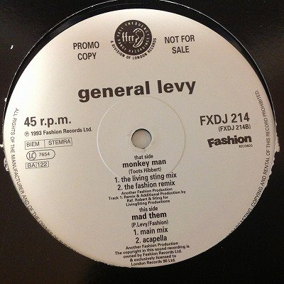 General levy / Monkey man  (12inch us promo)