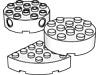 ブリック4×4丸穴有・上部にペグ穴有(#87081)・4×8・1/2円(#47974)