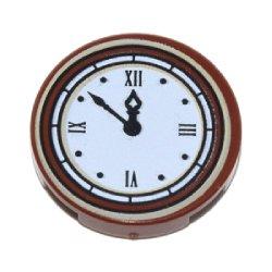 タイル2×2丸(時計) レディシュブラウン