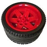 タイヤ長径68.8ミリ・幅36ZR&ホイール56ミリD.×34ミリ(レッド)セット