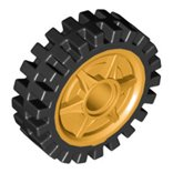 タイヤ長径24ミリ幅7ミリとパールゴールドホイール(ペグ穴有)セット