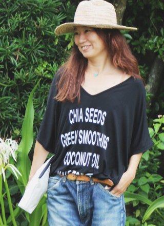 Vネック Tシャツカバーアップ Chia seeds/ブラック