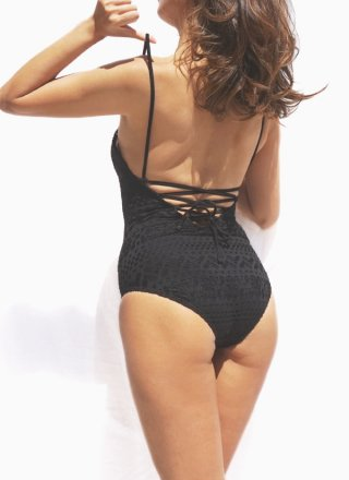 HELLO WEEKEND - Lace Up One Piece/Black Crochet
