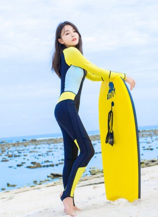 Hisea 0.5mm Rush Guard Wetsuit/Black Yellow