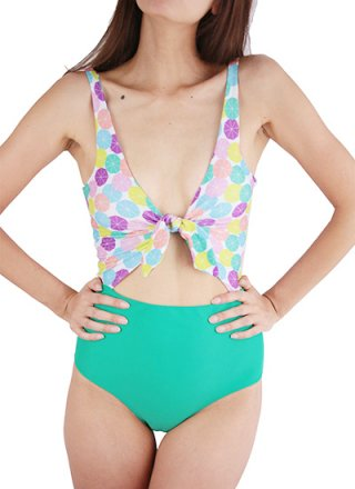 Lolli Swim- CHERRY ON TOP FRONT&BACK TIE ONE PC ELLAS/DK GREEN