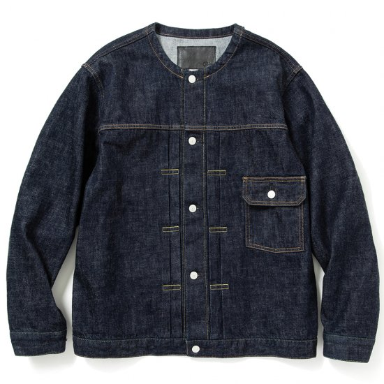 <img class='new_mark_img1' src='https://img.shop-pro.jp/img/new/icons12.gif' style='border:none;display:inline;margin:0px;padding:0px;width:auto;' />CALEE 1st type no collar denim jacket