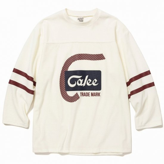 <img class='new_mark_img1' src='https://img.shop-pro.jp/img/new/icons12.gif' style='border:none;display:inline;margin:0px;padding:0px;width:auto;' />CALEE 8 Length sleeve velour football t-shirt