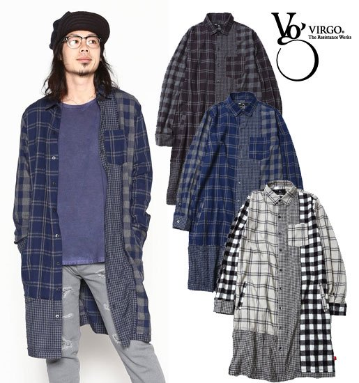 <img class='new_mark_img1' src='https://img.shop-pro.jp/img/new/icons50.gif' style='border:none;display:inline;margin:0px;padding:0px;width:auto;' />VIRGO Intersection check long shirts