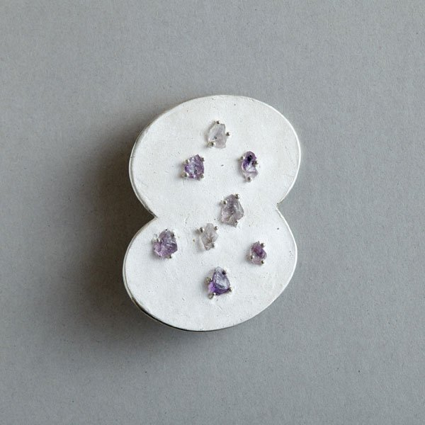 drawing brooch -Palette-   silver,amethyst