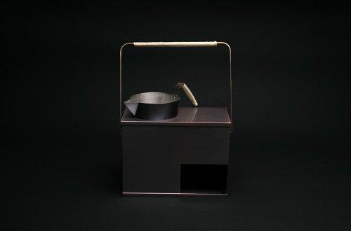 銅の酒燗器(横型)とチロリセット