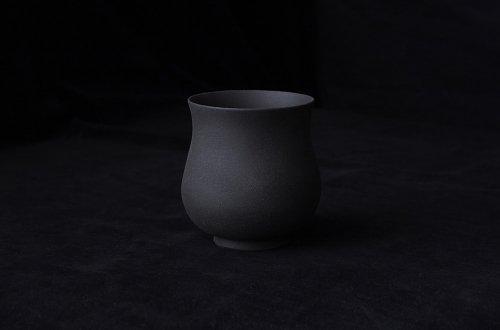 瓢湯呑 黒陶焼き〆