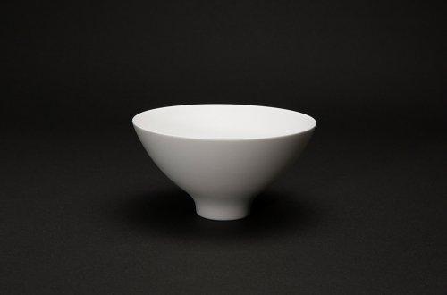磁器の飯碗 白釉巻き