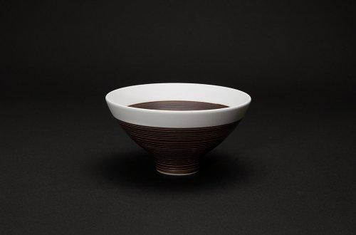 磁器の飯碗 茶巻千筋