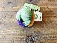 羊毛オブジェ 浮き輪カエルの指人形ストラップ