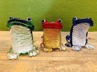 金箔ガラス細工の金運カエル (赤、緑、青 色を選びください)