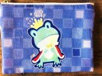 カエル王子王冠キラキラのポーチ すみれ色