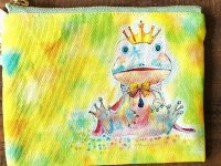 カエル王子のミニポーチ レモンイエロー