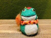 羊毛オブジェ カエルのオーナメント アロマキャップ
