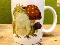 きのことカエルの王冠マグカップ