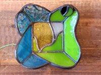 カエルステンドグラス 「座りカエル」 ミニトレイ