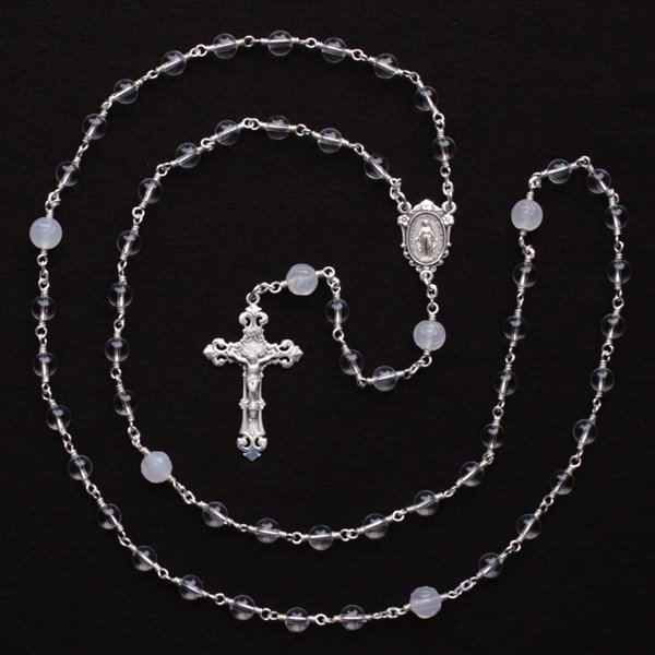 O様オーダーメイド 水晶 薔薇彫りホワイトカルセドニー 聖母マリアのロザリオ(シルバー925製)