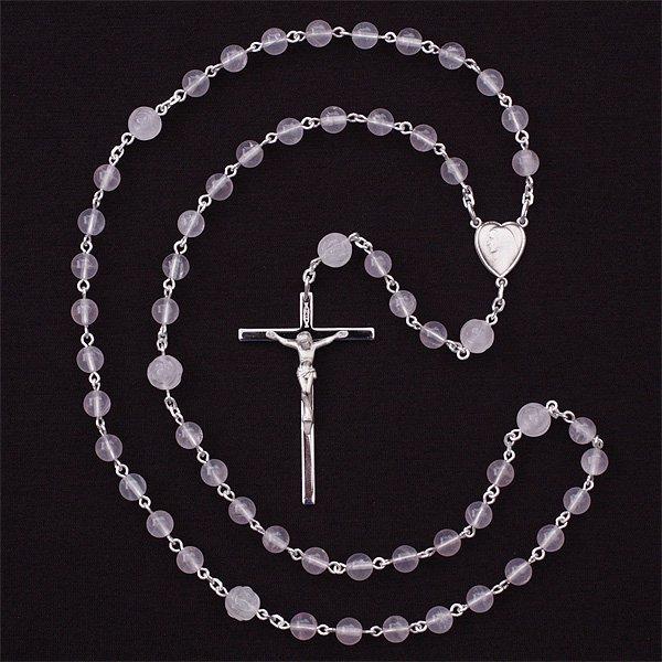 O様オーダーメイド ローズクォーツ 聖母マリアのロザリオ(シルバー925製)