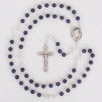 T様オーダーメイド ラピスラズリ・淡水パール イエスの聖心のロザリオ(シルバー925製)
