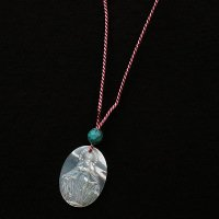 N様オーダーメイド シルク紐 ターコイズ&貝彫り聖母マリアネックレス(紐の種類:もも)