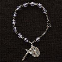(6月)誕生月 チェコビーズ アレキサンドライト色 聖母マリアのロザリオブレスレット