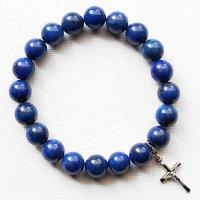 (1点もの)ラピスラズリ 十字架(シルバー925製)のブレスレット