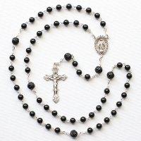 T様オーダーメイド オニキス 聖母マリアのロザリオ(シルバー925製)